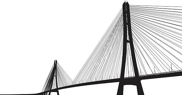 Darkened bridge with many cables contrasts with white skyvectorkunst illustratie