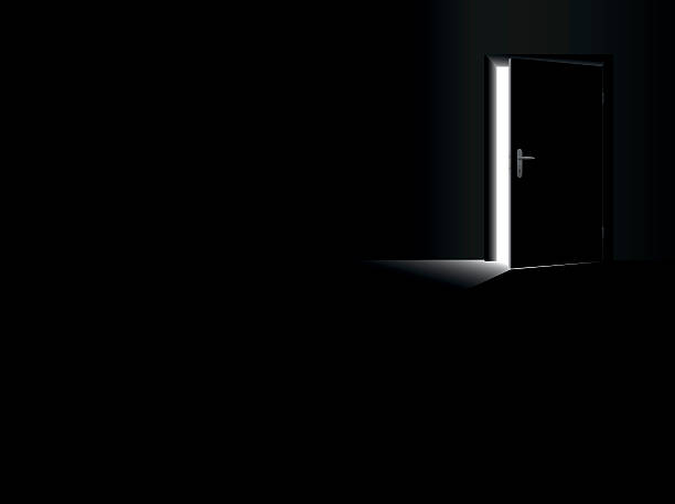 DarknessOpenDoorGlimmerLightEscapeBlack Darkness - black room with a half open door and a glimmer of light coming in - as a symbol for fear, frustration, depression, hope, courage and for taking a chance. Vector illustration. escaping stock illustrations