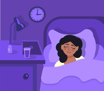 dark-skinned girl is sleeping peacefully in her bedroom. young African-American girl is sweetly napping on a bed in the dark. concept of relaxation in the bedroom. Vector illustration. cartoon style.