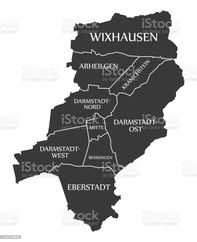 Darmstadt City Map Germany De Labelled Black Illustration ...