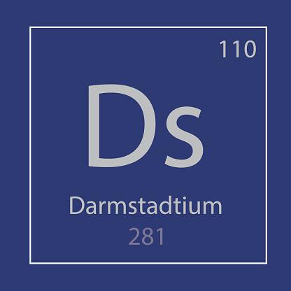 Darmstadtium Ds chemical element icon