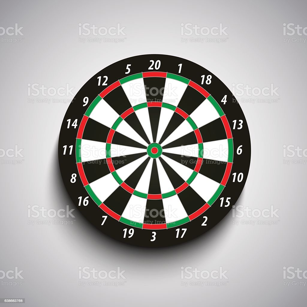 Dart board with green and red fields template vector art illustration
