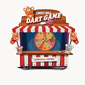 dart game dolls. carnival cart concept- vector illustration