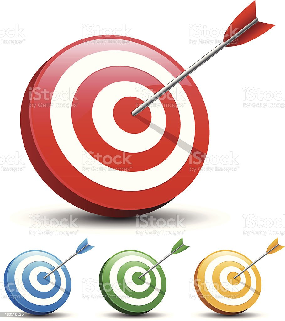 Dart Hitting A Target on white background vector art illustration