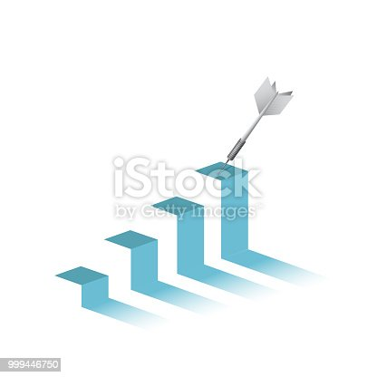 dart in top of a business graph. bulls-eye. hitting the target. illustration design graphic isolated over white