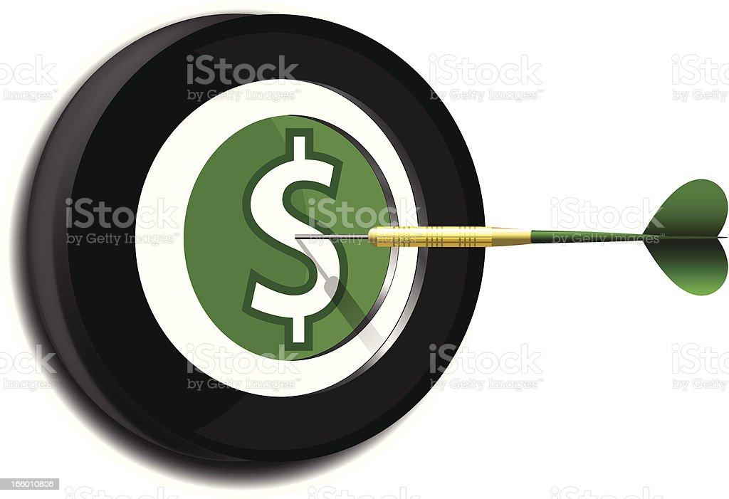 Dart on Target | Dollar Symbol royalty-free stock vector art