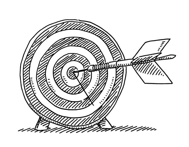 Dart Success Target Symbol Drawing Hand-drawn vector drawing of a Dart Success Target Symbol. Black-and-White sketch on a transparent background (.eps-file). Included files are EPS (v10) and Hi-Res JPG. business stock illustrations