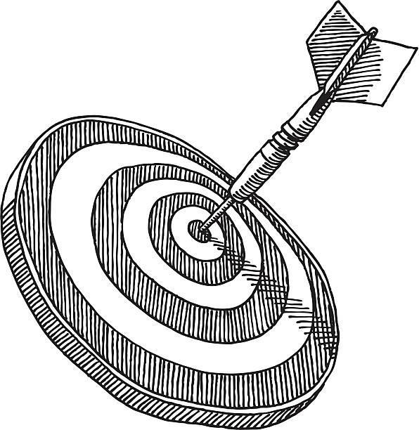 Dart Target Bullseye Drawing Hand-drawn vector sketch of a Target with a Dart sticking in the Bullseye. Black-and-White sketch on a transparent background (.eps-file). Included files: EPS (v8) and Hi-Res JPG. business stock illustrations