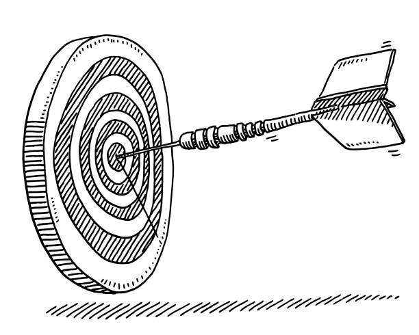 Dart Target Success Symbol Drawing Hand-drawn vector drawing of a Dart Target Success Symbol. Black-and-White sketch on a transparent background (.eps-file). Included files are EPS (v10) and Hi-Res JPG. game stock illustrations