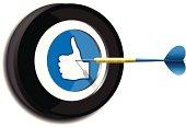 Dart Target with Thumb's Up Symbol.