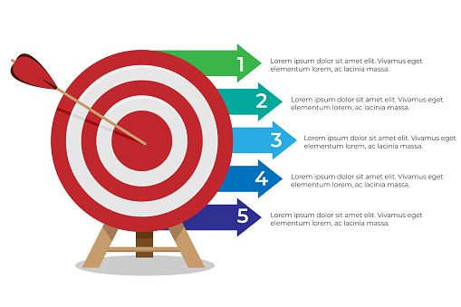 Dartboard arrows hitting target with five steps infographics