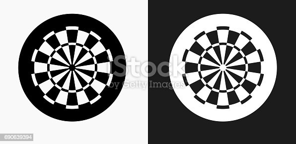 Dartboard Icon on Black and White Vector Backgrounds. This vector illustration includes two variations of the icon one in black on a light background on the left and another version in white on a dark background positioned on the right. The vector icon is simple yet elegant and can be used in a variety of ways including website or mobile application icon. This royalty free image is 100% vector based and all design elements can be scaled to any size.