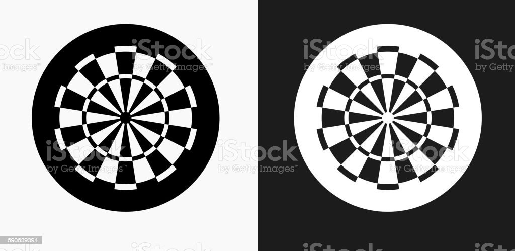 Dartboard Icon on Black and White Vector Backgrounds vector art illustration