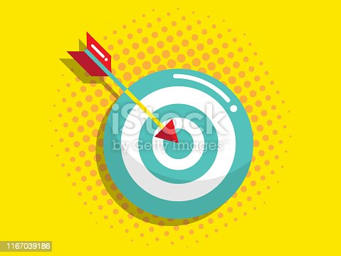 illustration of dartboard with arrow, business vision and target concept vector flat design