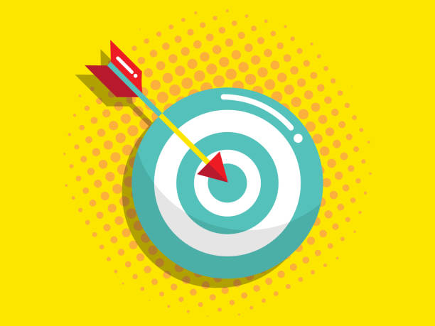 dartboard with arrow, business vision and target concept vector art illustration