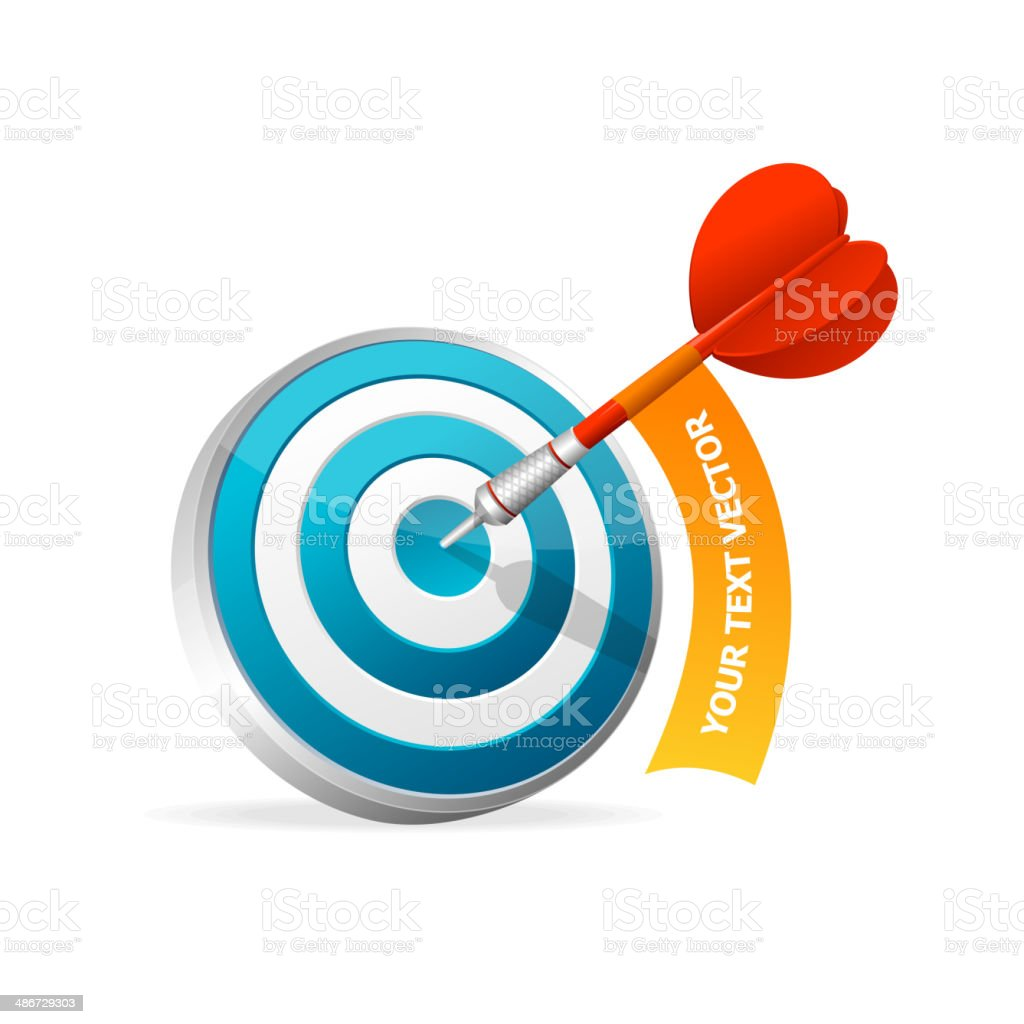 Dartboard with dart. Hitting A Target. Text banner royalty-free stock vector art