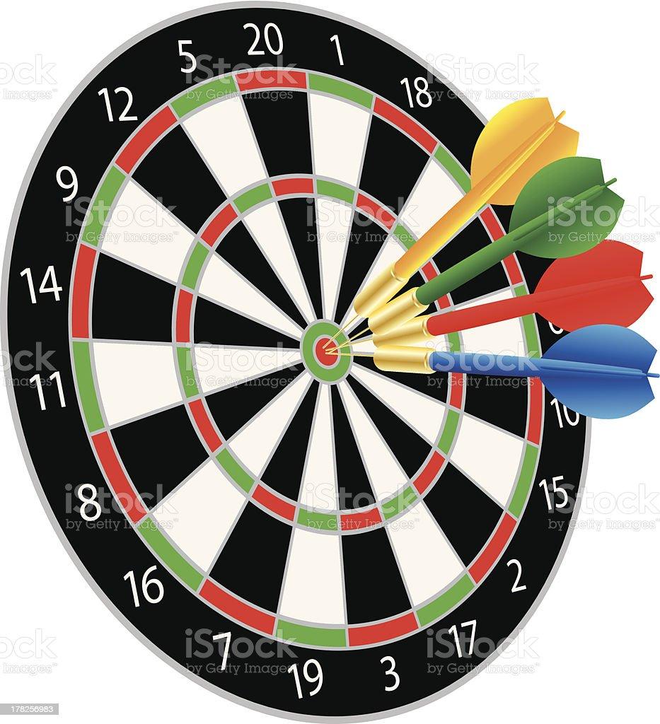 Dartboard with Darts Hitting the Bullseye Vector Illustration royalty-free stock vector art