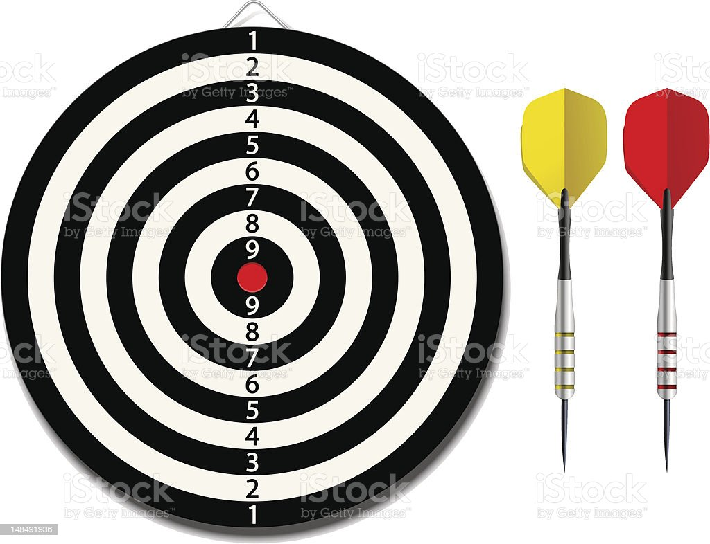 Dartboard with two darts royalty-free dartboard with two darts stock vector art & more images of accuracy