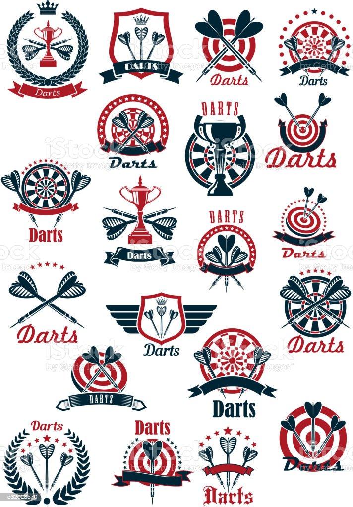 Dartboards with darts symbols for sporting design vector art illustration