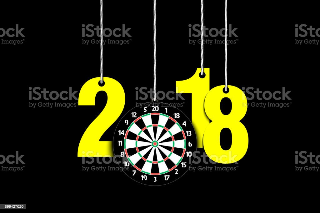 Darts board  and 2018 hanging on strings vector art illustration