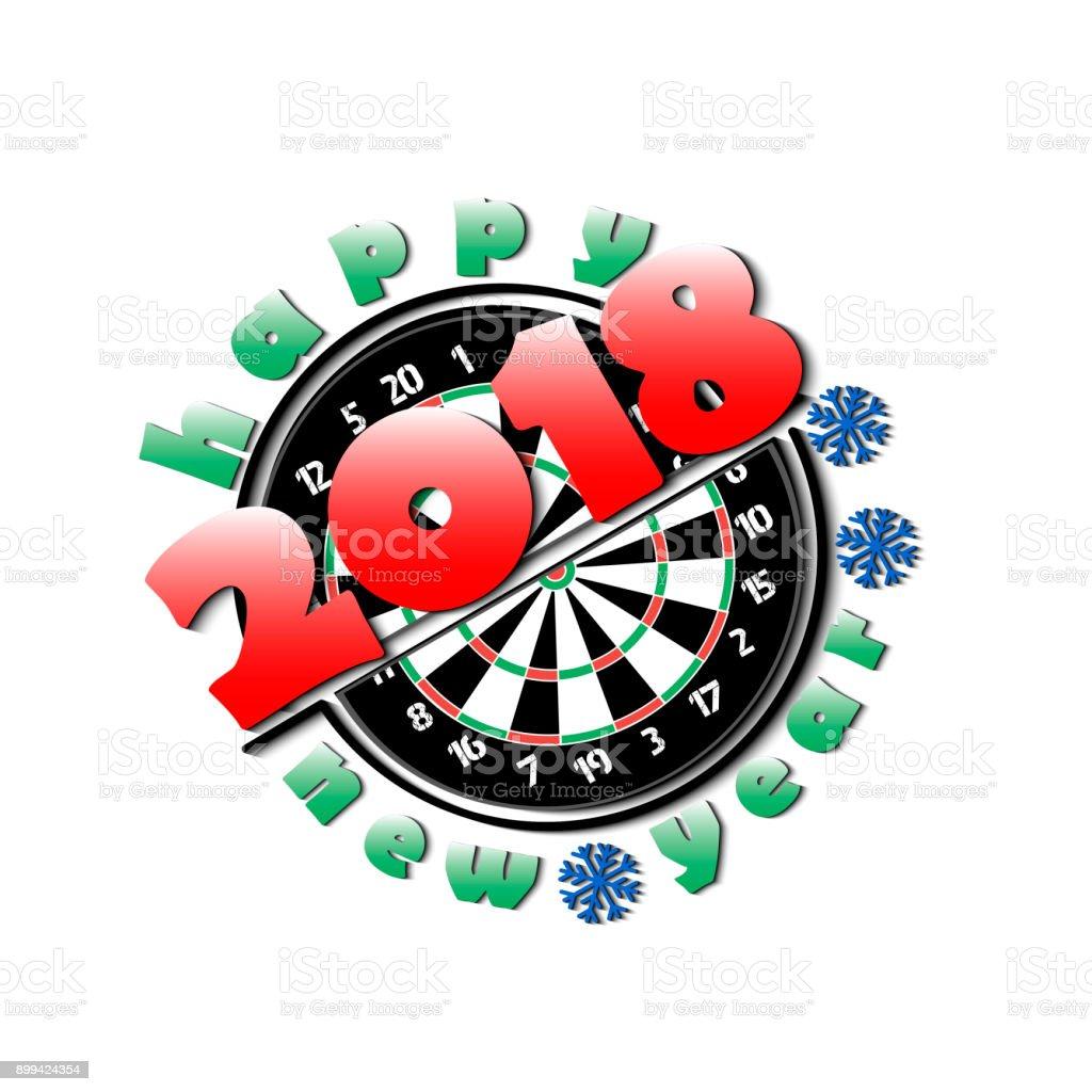 Darts board and New Year 2018 vector art illustration