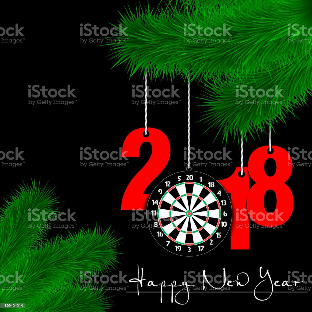 Darts boardl and 2018 on a Christmas tree branch vector art illustration