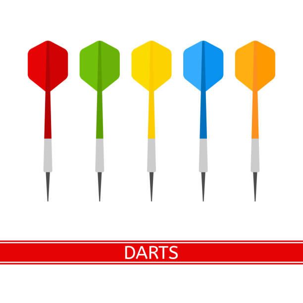 Darts Isolated Vector Vector illustration of colorful darts isolated on white background, in flat style. dart stock illustrations