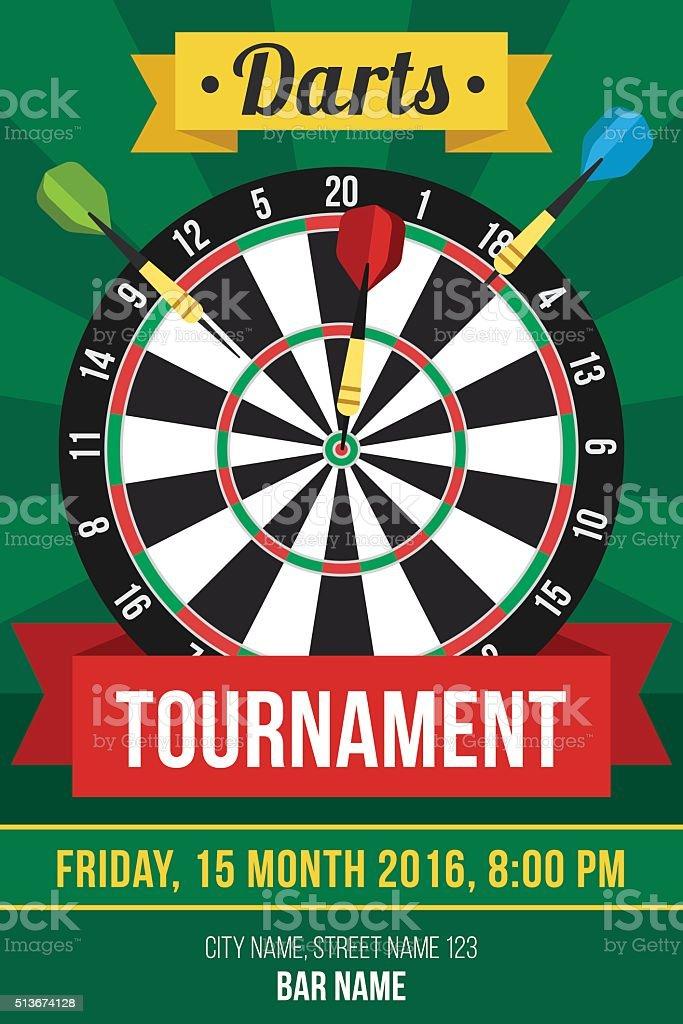 Darts poster vector art illustration