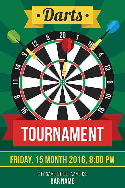 Darts poster Colorful vector poster template for darts tournament. Flat style. dart stock illustrations