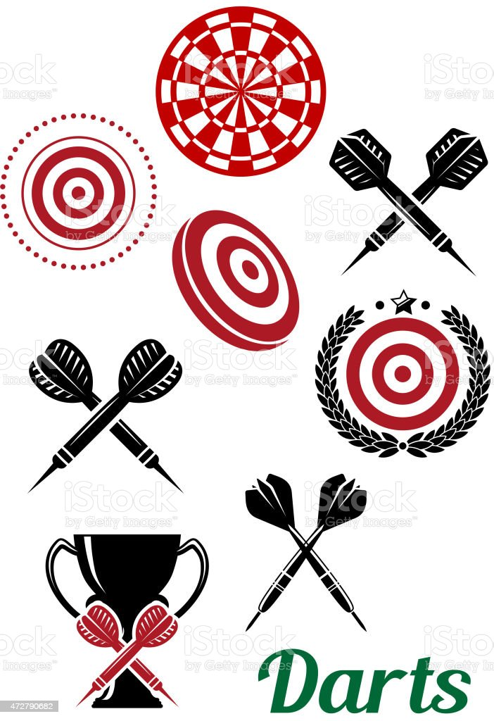 Darts sporting red and black design elements vector art illustration