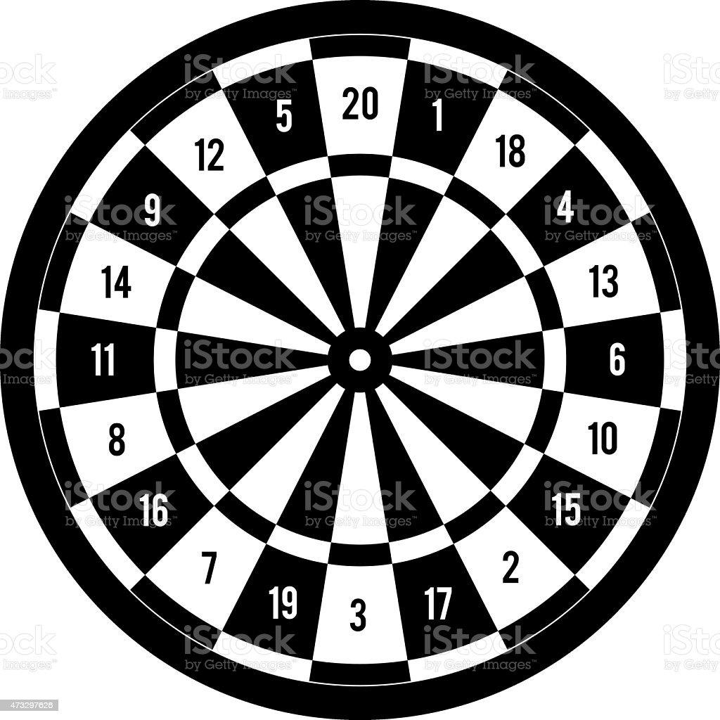 Darts Target Black White Stock Illustration - Download ...
