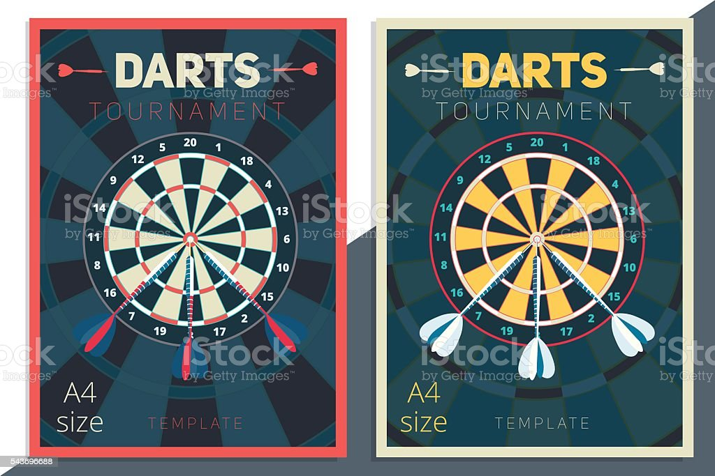 Darts tournament vector poster template design. Flat retro style vector art illustration