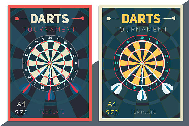 Darts tournament vector poster template design. Flat retro style Darts tournament vector poster template design. Flat retro style contest flyer concept in A4 size dart stock illustrations