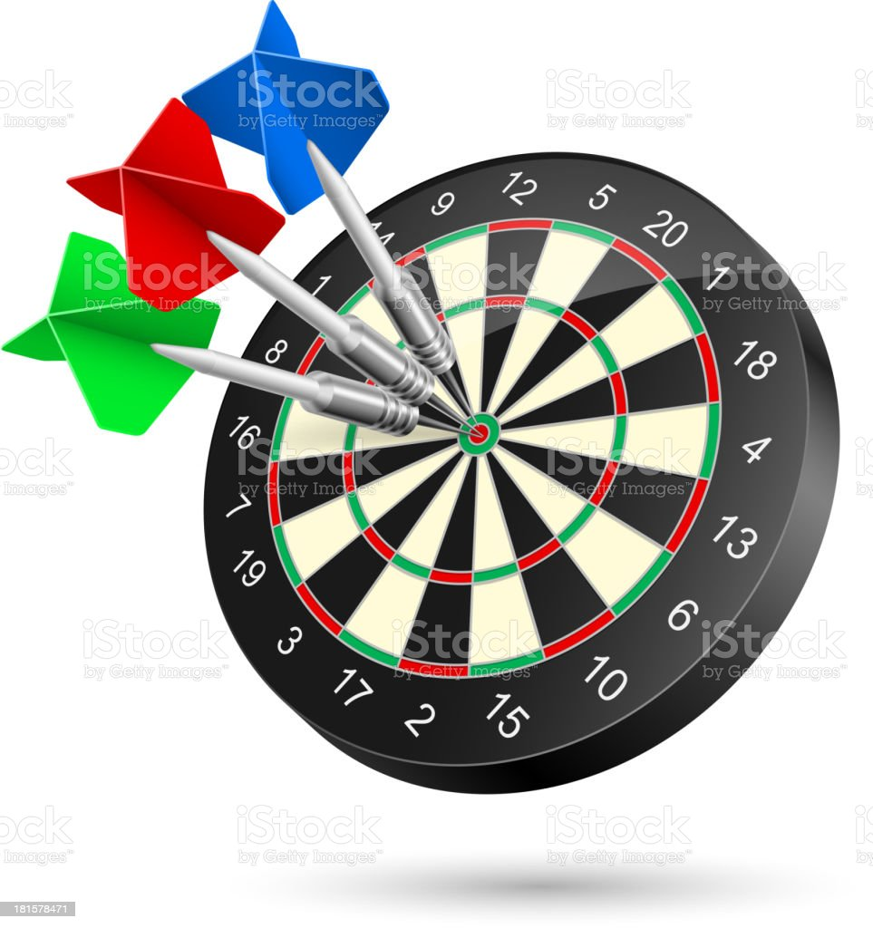 Darts Dartboard with Darts hitting a target. Illustration on white Accuracy stock vector