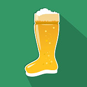 das boot beer glass icon flat style with long gradient for octoberfest theme