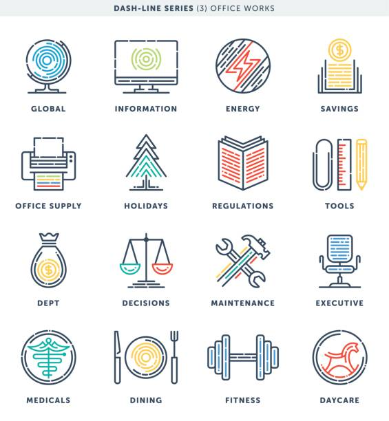 Tableau de bord ligne Bureau travail icônes - Illustration vectorielle