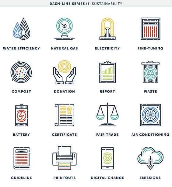 ilustrações de stock, clip art, desenhos animados e ícones de dash line sustainability icon set - alter do chão