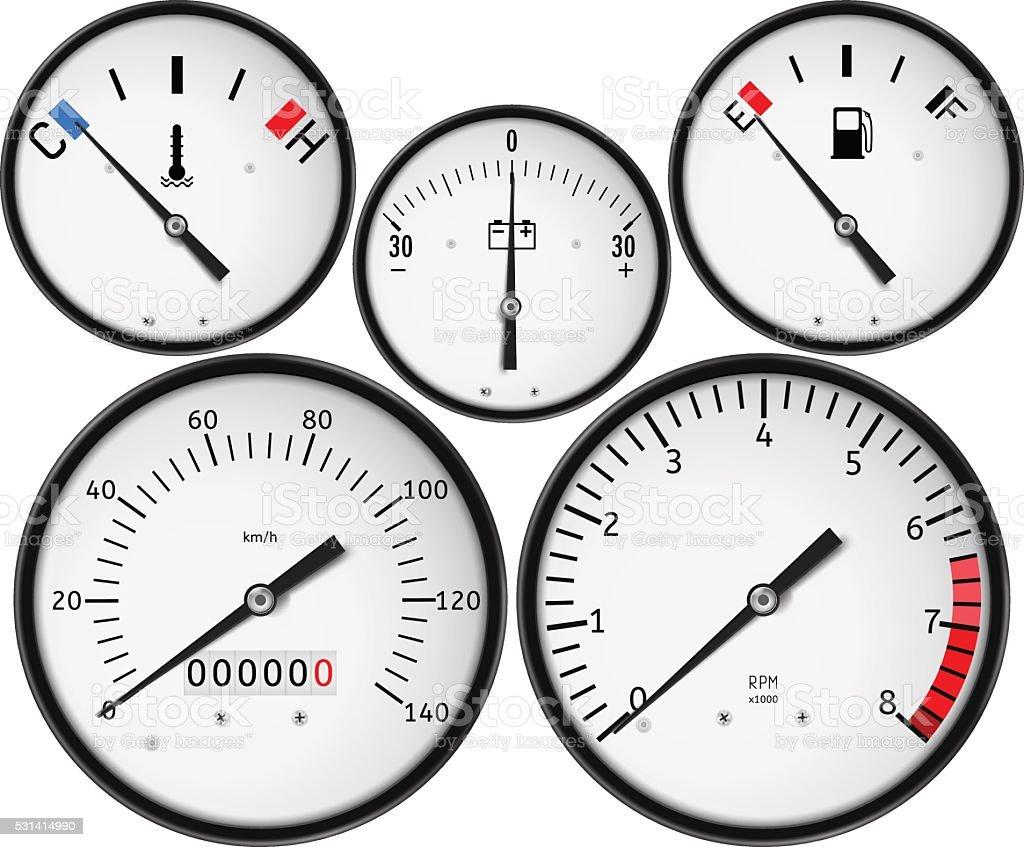Dashboard Fuel Gauge Tachometer Speedometer Fuel Gauge Stock - Car signs on dashboardcar dashboard signs speedometer tachometer fuel and temperature