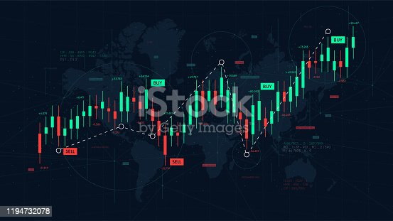 Dashboard graph of forex statistics, business and financial analytics, profit and cost rate, vector illustration