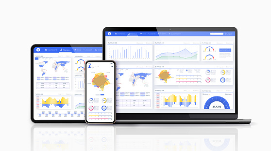 Dashboard, great design for any site purposes. Business infographic template. Vector flat illustration. Big data concept Dashboard user admin panel template design.