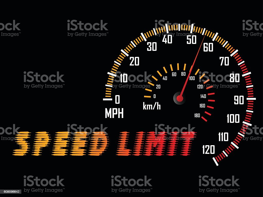 Dashboard guage of mile speed limit. vector art illustration