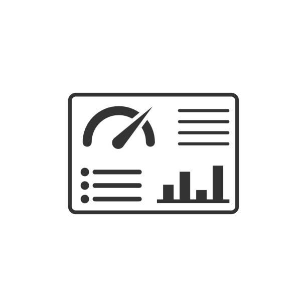 stockillustraties, clipart, cartoons en iconen met dashboard pictogram in platte stijl. finance analyzer vector illustratie op witte geïsoleerde achtergrond. performance algorithm business concept. - dashboard