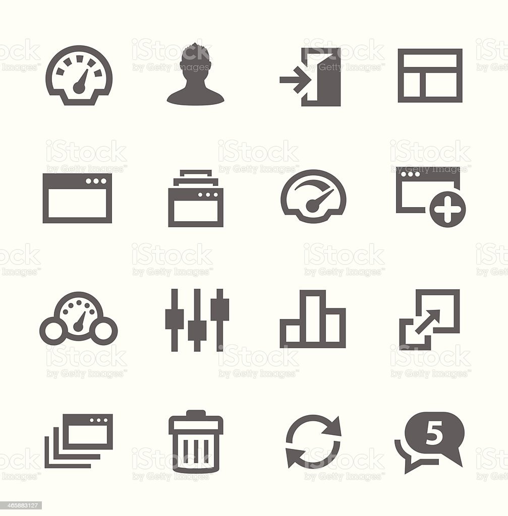 Dashboard icons set. vector art illustration
