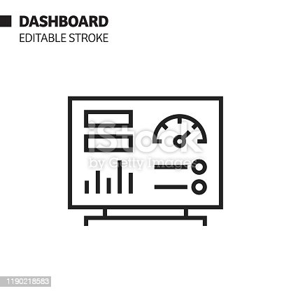 Dashboard Line Icon, Outline Vector Symbol Illustration. Pixel Perfect, Editable Stroke.