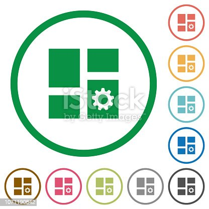 Dashboard settings flat color icons in round outlines on white background