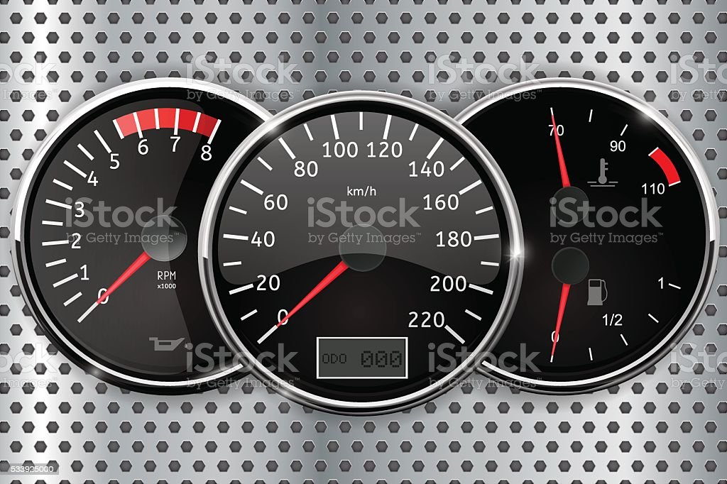 Dashboard - speedometer, tachometer, temperature and fuel gauge vector art illustration
