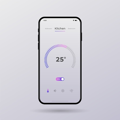 Dashboard UI and UX Kit. Control center design. Temperature control in the room.