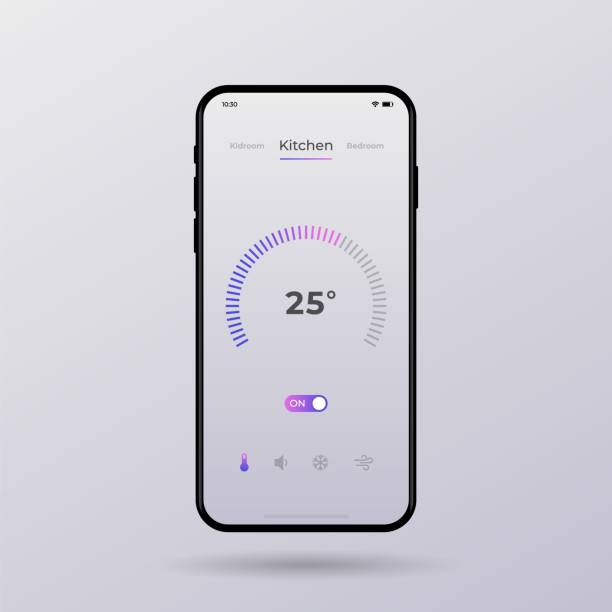 Dashboard UI and UX Kit. Control center design. Temperature control in the room. vector art illustration