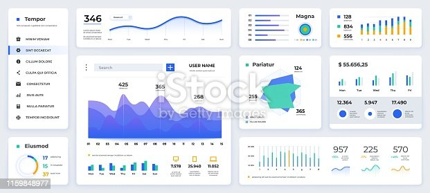 istock Dashboard UI. Modern presentation with data graphs and HUD diagrams, clean and simple app interface. Vector abstract web UI 1159848977