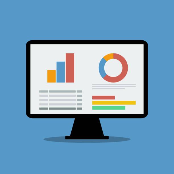 ilustrações de stock, clip art, desenhos animados e ícones de dashboard with charts and table on personal computer screen - computer